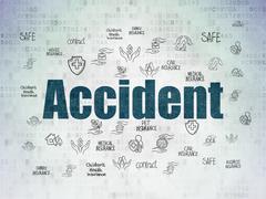 Insurance concept: Accident on Digital Data Paper background - stock illustration