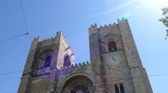 The Se Cathedral of Lisbon Stock Footage