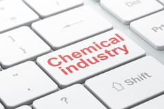 Manufacuring concept: Chemical Industry on computer keyboard background - stock illustration