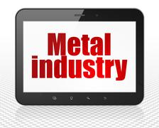 Manufacuring concept: Tablet Pc Computer with Metal Industry on display - stock illustration