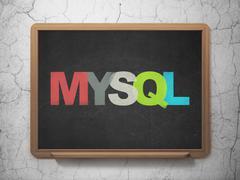 Database concept: MySQL on School board background - stock illustration