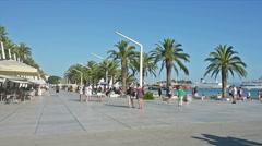 The promenade of Split, Croatia Stock Footage