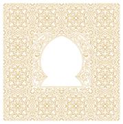 Eastern gold frames, arch. Template design elements in oriental style Stock Illustration