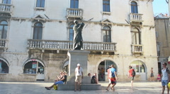 Statue Of Marko Marulic By Ivan Mestrovic In Split, Croatia Stock Footage