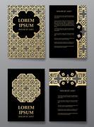 Cover brochure gold design. Arabic traditional decorative elements. - stock illustration