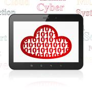 Cloud networking concept: Tablet Computer with Cloud With Code on display - stock illustration