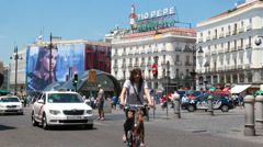 Puerta del Sol square in Madrid, Spain Stock Footage