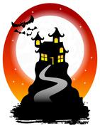 Haunted house with bats Stock Illustration