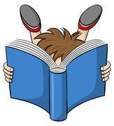 Cartoon of a entranced read child Stock Illustration