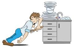 Man is washing the dishes in despair Stock Illustration