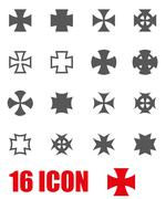 Vector grey choppers crosses icon set Stock Illustration