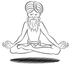 Floating meditating yogi Stock Illustration