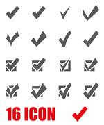 Vector grey confirm icon set Stock Illustration