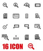 Vector grey job search icon set Stock Illustration
