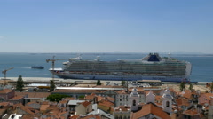 Overview of Lisbon from Santa Luzia point Stock Footage