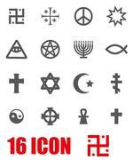 Vector grey religious symbols set - stock illustration