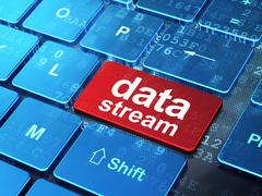 Data concept: Data Stream on computer keyboard background Stock Illustration