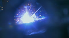Sparks coming out from welding torch Stock Footage