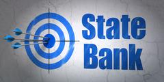 Currency concept: target and State Bank on wall background Piirros