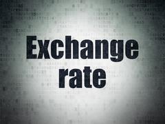 Banking concept: Exchange Rate on Digital Data Paper background - stock illustration