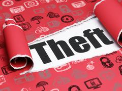 Protection concept: black text Theft under the piece of  torn paper - stock illustration