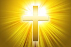 Golden latin cross with sunbeams Stock Illustration
