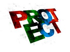 Protection concept: Protect on Digital background - stock illustration