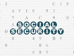 Safety concept: Social Security on wall background Piirros