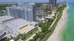 Aerial video of Miami Beachfront resorts Stock Footage