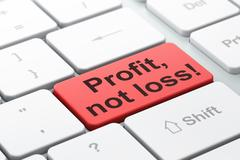 Business concept: Profit, Not Loss! on computer keyboard background - stock illustration