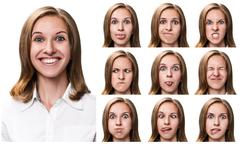 Woman with different facial expressions Stock Photos
