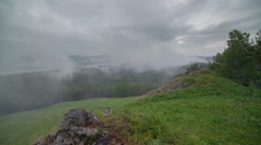 Morning mist covers the valley of the Yenisei River Stock Footage
