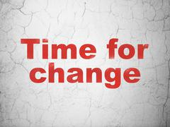 Timeline concept: Time for Change on wall background - stock illustration