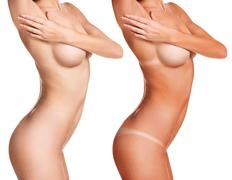Female body before and after tunning Stock Photos