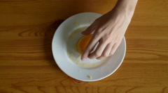Wiping the plate after oranges Stock Footage
