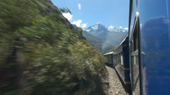 View out the window from the peru rail from machu picchu Stock Footage