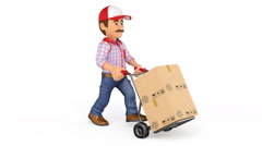 3d footage. Delivery man pushing a hand truck with boxes. Loop animation. Fil - stock footage