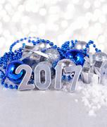 2017 year silver figures and silvery and blue Christmas decorations - stock photo