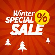 winter special sale offer poster vector background. - stock illustration