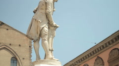 Vertical Pan of the statue erected to Luigi Galvani, Bologna Stock Footage