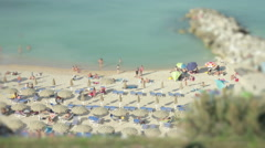 Tilt shift time lapse of a beach in Numana - stock footage