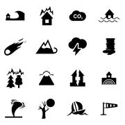 Vector black disaster icon set Stock Illustration