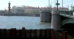 Exchange bridge, Rostral column, river Malaya Neva, Saint Petersburg Stock Footage