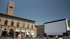 Open Air Movie Theatre, Piazza Maggiore, Bologna Stock Footage