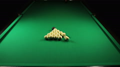 Billiard balls triangle during the break shot Stock Footage