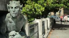 Devil Bronze Sculpture in Bologna Stock Footage