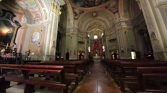 In italy the old inside    church altar Stock Footage