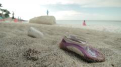 Abandoned Shoe in Portonovo Beach Stock Footage