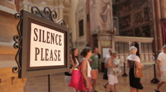 """Silence Please"" sign in San Petronio cathedral, Bologna - stock footage"