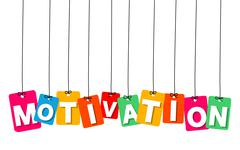 Vector colorful hanging cardboard. Tags - motivation - stock illustration
